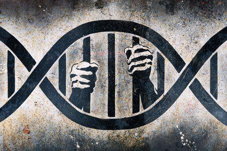 Drawing of human hands grabbing DNA cage bars