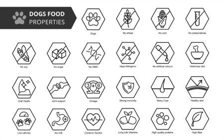 Illustration pour Dog's food properties icon set. Veterinarian properties. - image libre de droit