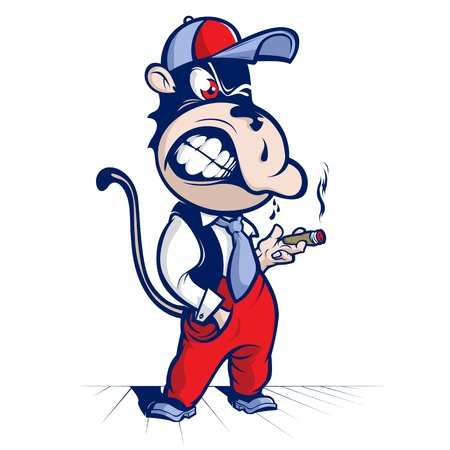 cartoon monkey smoke  and smile