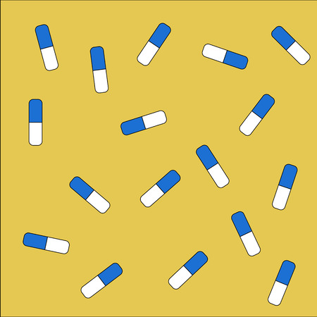 Yellow background with blue and white pills