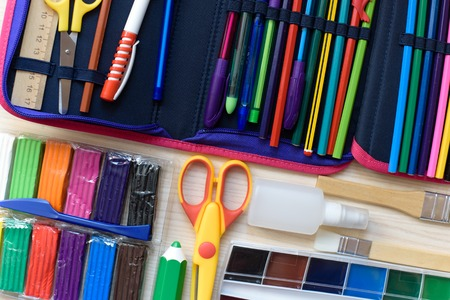 Foto de School supplies on the table Back to school concept. - Imagen libre de derechos