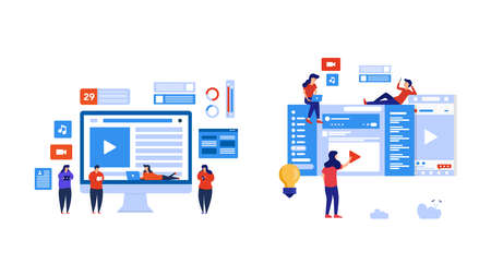 Illustration pour Set of people play social media and watch live streaming. Element design with lifestyle or business concept for website development or social media advertising. - image libre de droit