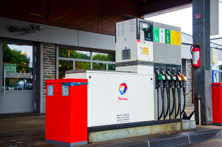 North Rhine-Westphalia, Germany - July 27, 2019: Total Gas Station. Total S.A. is a French multinational integrated oil and gas compa