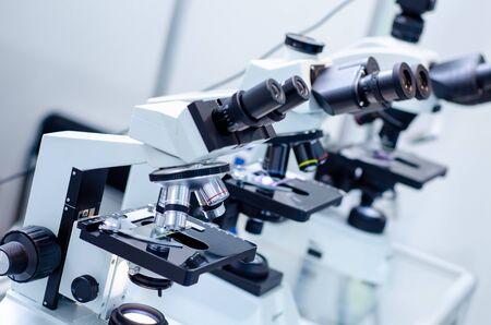 Close-up of microscopes at laboratory.