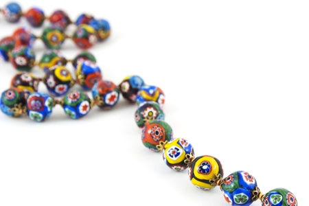 isolated of murano glass colourful necklace