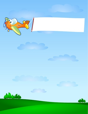 A funny air cartoon-style drag in the sky a white banner customizable. Vector
