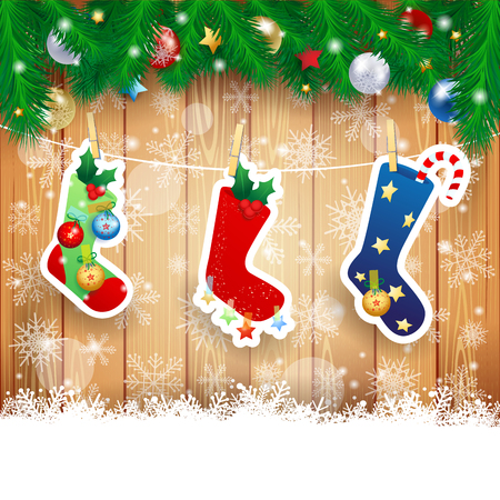 Illustration pour Christmas stocking on wooden background, vector illustration eps10 - image libre de droit