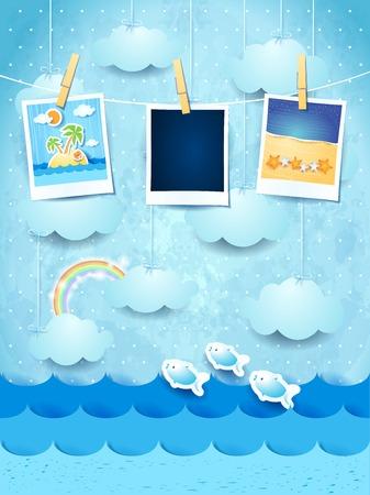 Illustration pour Summer background with photo frames - image libre de droit