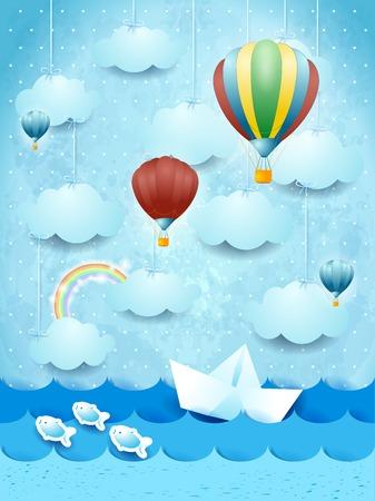 Illustration pour Summer seascape with hot air balloons and paper boat. - image libre de droit