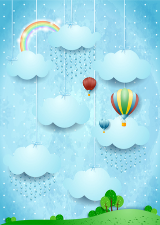 Surreal landscape with rain and hot air balloons, vector illustration eps10