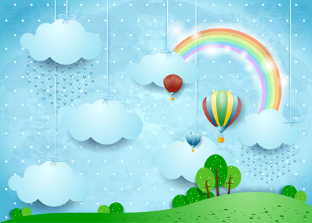 Fantasy landscape with rain and hot air balloons, vector illustration eps10