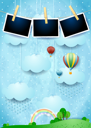 Surreal landscape with rain, balloons and photo frames. Vector illustration eps10