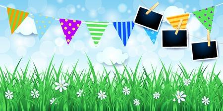 Illustration pour Spring background with festoon and photo frames. Vector illustration eps10 - image libre de droit