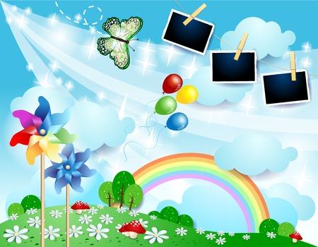 Illustration pour Spring landscape with butterfly, pinwheels and photo frames. Vector illustration eps10 - image libre de droit