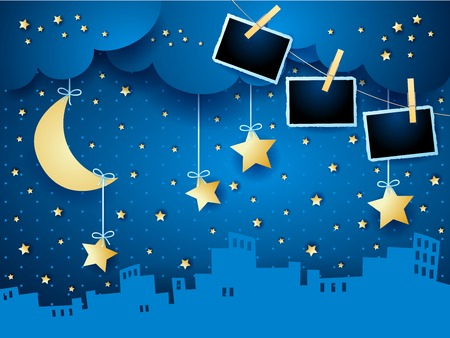 Illustration pour Surreal night with moon, skyline and photo frames. Vector illustration eps10 - image libre de droit