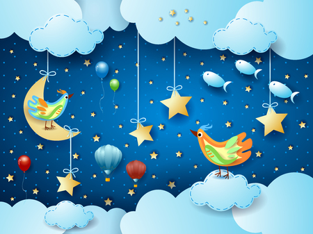 Illustration pour Surreal night with moon, birds, balloons and flying fishes. Vector illustration - image libre de droit