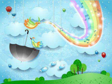 Illustration pour Surreal landscape with rainbow colors, music and birds. - image libre de droit