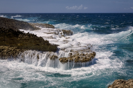 Breaking waves on volcanic seashore, northern coast Costa Tabla, Curacao  Netherlands Antilles