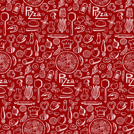 Pizza. Seamless hand drawn doodle pattern