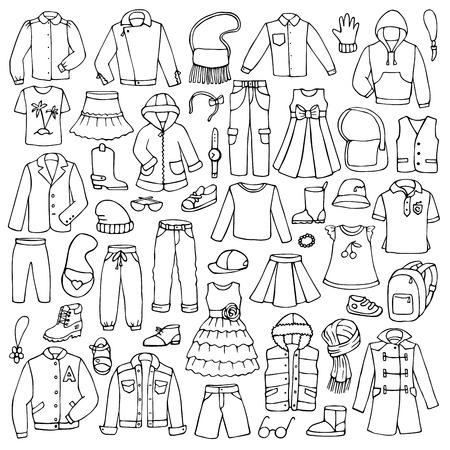 Ilustración de Hand drawn doodle set with childish clothes - Imagen libre de derechos