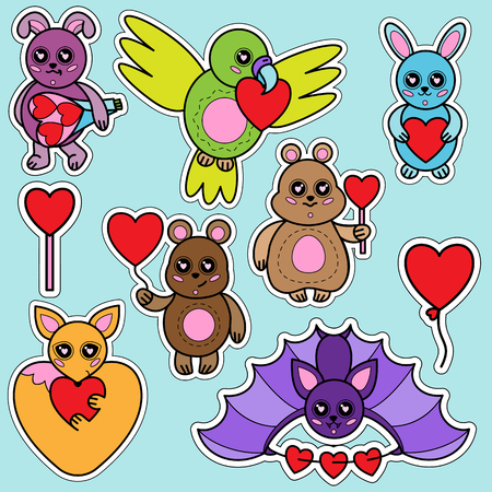 Animals stickers with hearts set. Children toys with love signes collection.
