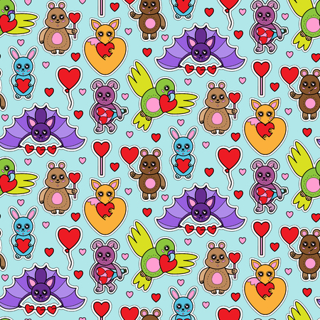 Animals stickers with hearts seamless pattern. Children toys with love signes coloring wallpaper.