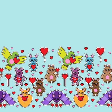 Animals stickers with hearts seamless border. Children toys with love signes wallpaper.