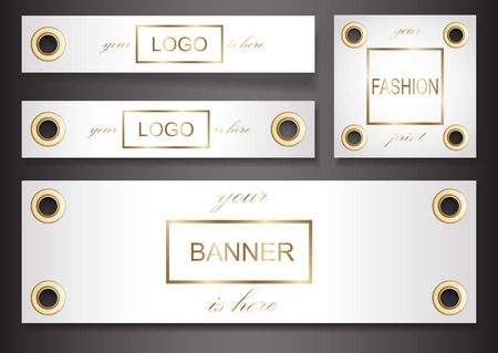 Illustration pour Banner set with golden eyelets isolated on black background. Label template for textile, posters, background for art works, stickres woth text place. Vector realistic fashion fittrngs. - image libre de droit
