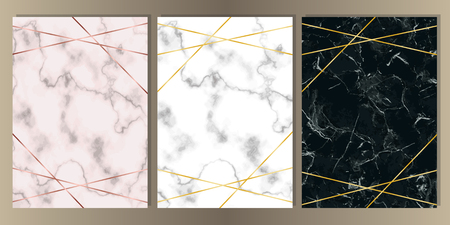Ilustración de A4 Card Set with pink, white and black marble and gold lines. Luxury template with text place for wedding invite, greeting, birthday card and covers. - Imagen libre de derechos