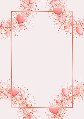 Glamour template with flat lay hearts and glitter. Pink romantic mock up for greeting, valentines and birthday card, wedding invitation, gift voucher and covers with text place.