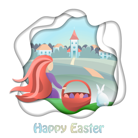 Illustration for Happy Easter illustration with girl and countryside. Vector abstract modern composition with gradients and paper cut effect for greeting cards, prints, posters with text place . - Royalty Free Image