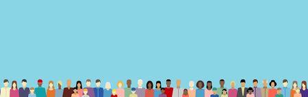 Illustration pour People of different nationalitiesin vector web banner - image libre de droit
