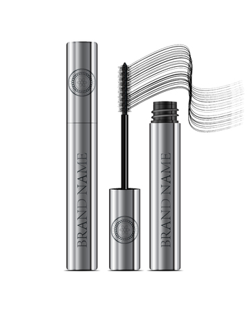 bf973b2e514 A mascara tube and a wand applicator. Cosmetic silver bottle with eyelash  brush. Isolated