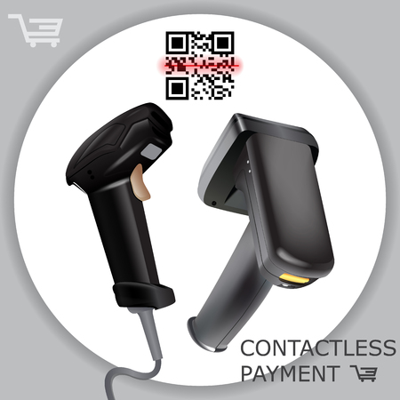 Illustration pour Hand held wireless barcode scanner reader scanning bar code on white background. Laser beam. Vector illustration in 3d realistic contactless style. - image libre de droit