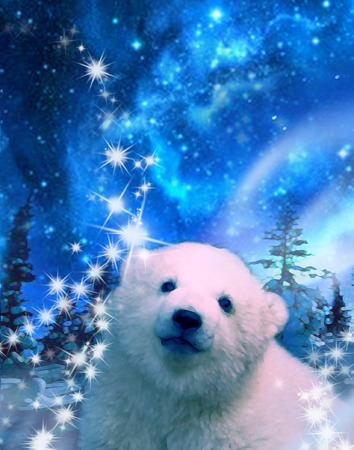 Baby Polar Bear in the North  Pole at night under aurora borealis, stars and sparkles