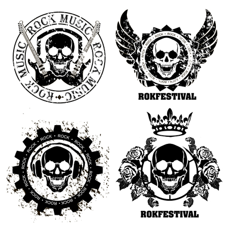 Set of logos rock music and recording studios. Music design elements with font type and illustration vector. Vintage label Rock Beast