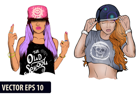 Rap music girl. Pretty Young Urban Rap Girl. Lady artwork. Doodle art isolated on white background. Face emotion illustration.