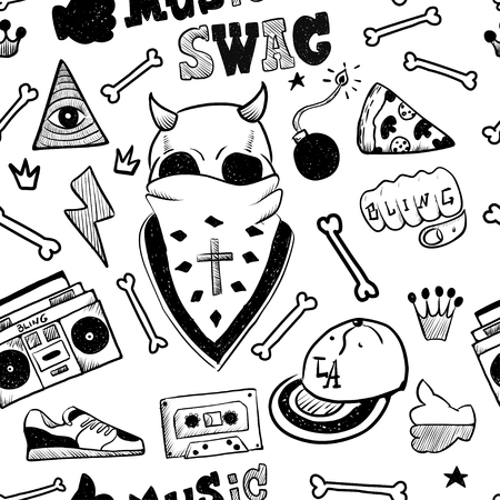 Illustration for RAP hand drawn doodle seamless pattern. Sketches. Vector illustration for design and packages product. Symbol collection. - Royalty Free Image