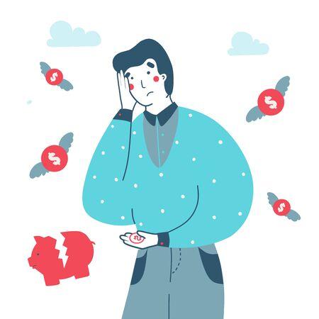 Illustration pour Money loss bankruptcy man. Concept business vector flat illustration. Lost money concept cartoon vector illustration. Business, financial illustration. - image libre de droit