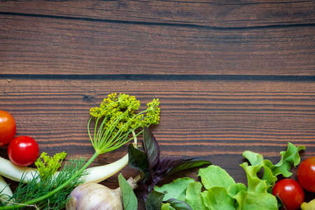 Photo for Autumn fresh vegetables on wooden table background - Royalty Free Image