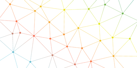 Illustration for Abstract vector triangle background. Colorful bright polygonal network pattern. Lines and circles connection illustration for template, concept, web, design, science, net - Royalty Free Image
