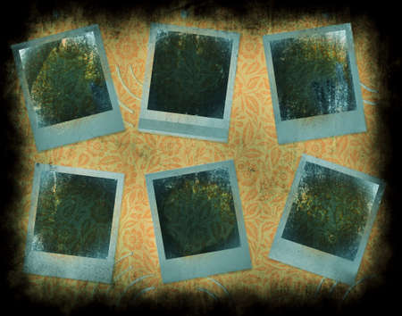 Set of 6 instant photo frames with grunge texture and interesting detail