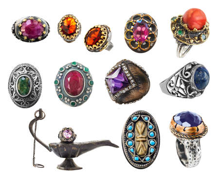 collection of 12 vintage Ottoman style silver and gold rings with precious and semi-precious stones.