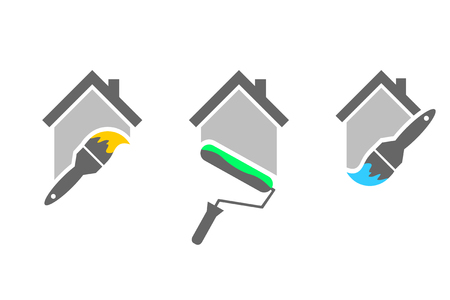 Illustration for Professional house painter set with paint brush and roller - Royalty Free Image