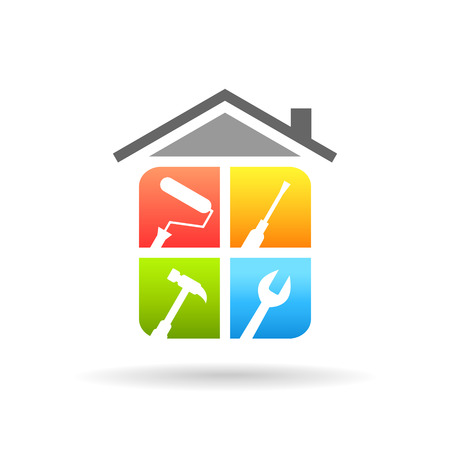 Illustration pour Home repair concept with work tools. Home renovation and improvement logo in colorful design. - image libre de droit