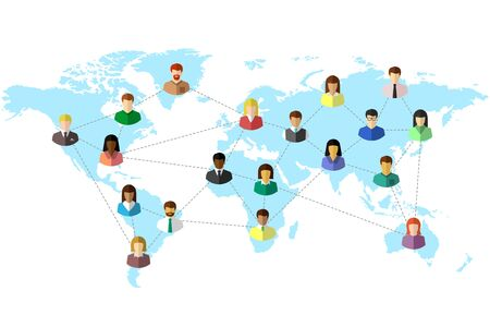 Illustration pour Diverse people and world map concept with dotted line as global connection symbol. Colorful flat design on white background. - image libre de droit