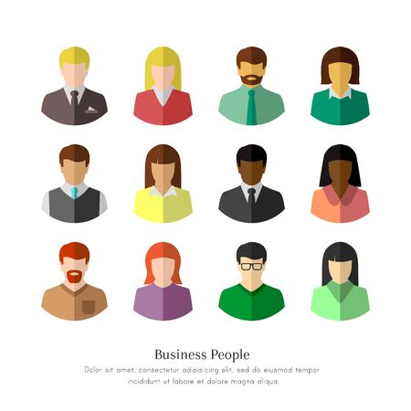 Illustration pour Diverse business people in flat design. Isolated icon set on white background. - image libre de droit
