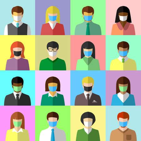 Illustration pour Collage of ethnically diverse people wearing face masks. Diversity, COVID-19, pandemic and face mask concept. Flat design, icon set. - image libre de droit