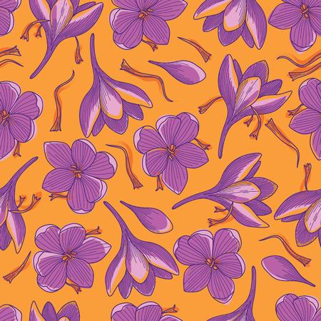 Illustration pour Purple Crocus Flowers and Red Saffron Threads Line Drawing Seamless Pattern on Orange Background - image libre de droit