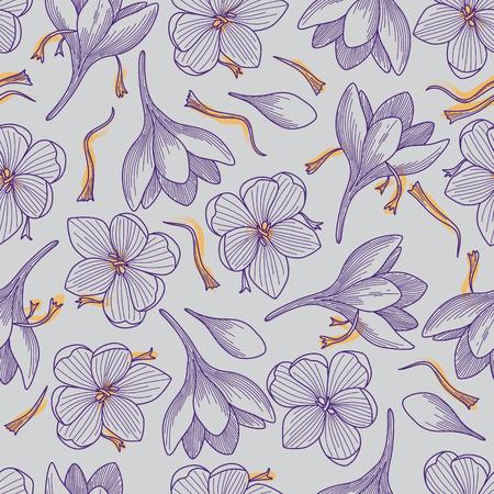 Illustration pour Detailed Purple Crocus Flowers and Saffron Line Drawing Seamless Pattern on Grey Background - image libre de droit